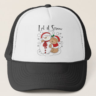 Santa Bear & Snowman Let It Snow Trucker Hat
