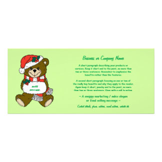 Santa Bear with Hat and Muff rack cards template
