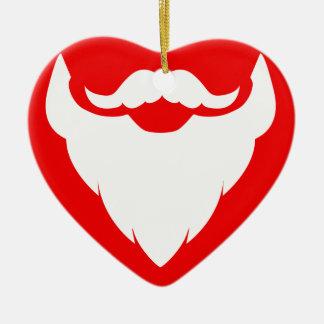 Santa beard moustache gift red & white ornament