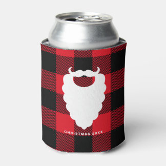 Santa Beard Red Plaid Personalized Holiday Can Cooler