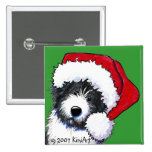 Santa Bearded Collie Gifts Pinback Button
