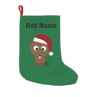 Santa Beaver Small Christmas Stocking