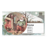 Santa Before the Fireplace Fills Stockings Business Cards