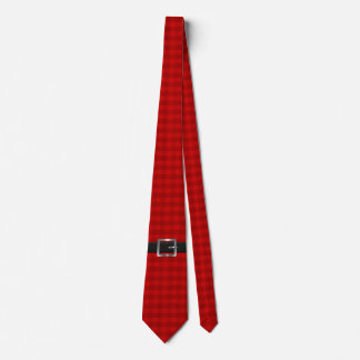 Santa Belt on Red Check Tie