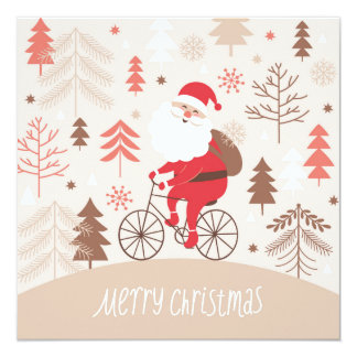 Santa Bicycling Card