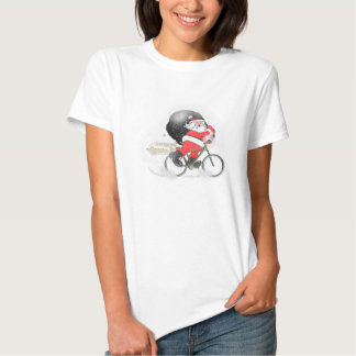 Santa bicycling with his sack in the snow. T-Shirt