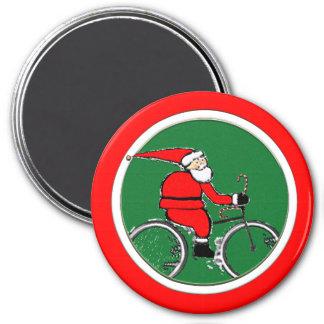 Santa Biking 7.5 Cm Round Magnet