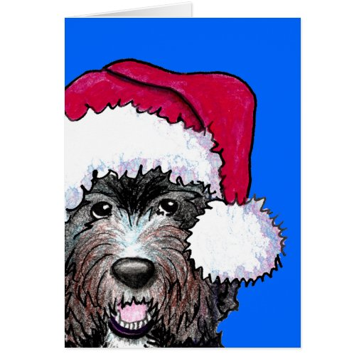 Santa Black Doodle Greeting Cards