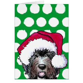 Santa Black Doodle Card