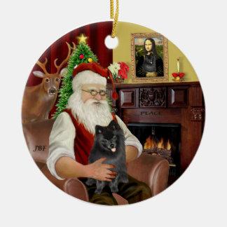 Santa-Black Pomeranian Christmas Ornament