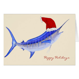 Santa Blue Marlin Christmas Card