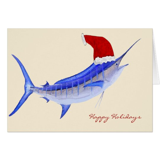 Santa Blue Marlin Christmas Card