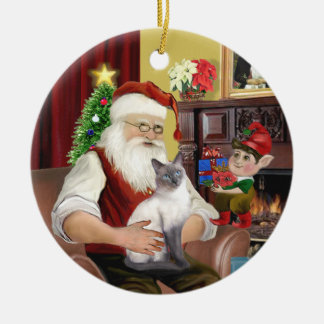 Santa - Blue Point Siamese Christmas Ornament