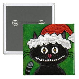 Santa Bobo the Black Cat - Christmas button