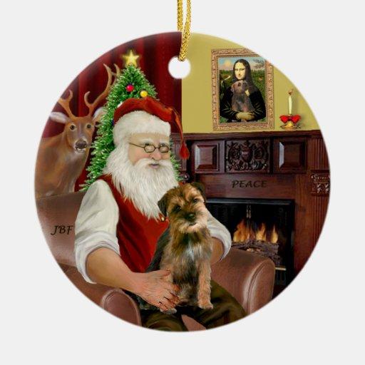 Santa - Border Terrier 1 Christmas Ornament
