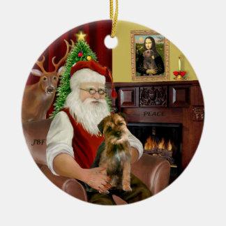 Santa - Border Terrier 1 Round Ceramic Decoration