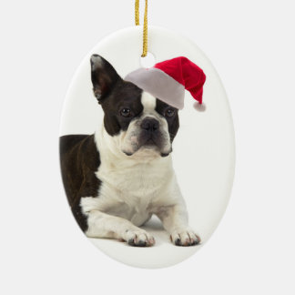 Santa Boston Terrier Ornament