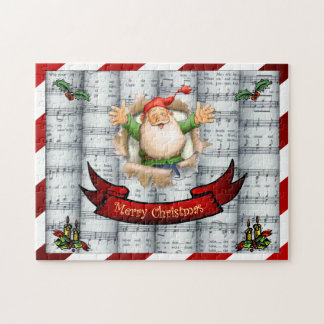 Santa Breaking Through ~ Christmas Sheet Music Jigsaw Puzzle