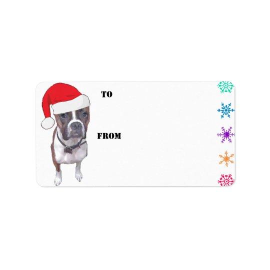 Santa Brindle Boxer Gift Tags Address Label