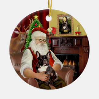 Santa-Brindle French Bulldog Christmas Ornament