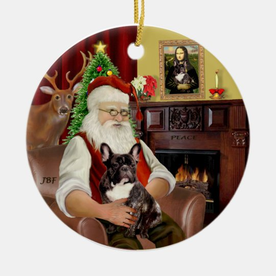 Santa-Brindle French Bulldog Christmas Ornament