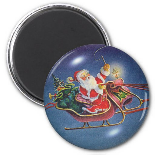 SANTA BUBBLE by SHARON SHARPE 6 Cm Round Magnet