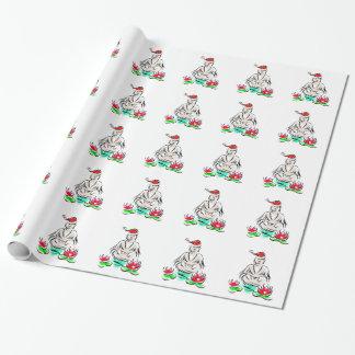Santa Buddha with Santa Hat Wrapping Paper