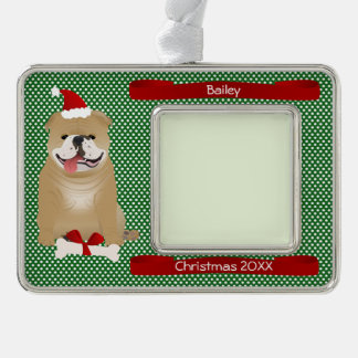 Santa Bulldog Personalized Keepsake Silver Plated Framed Ornament