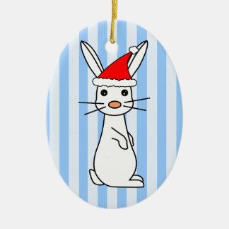 Santa Bunny - White with Blue Stripes Christmas Ornament