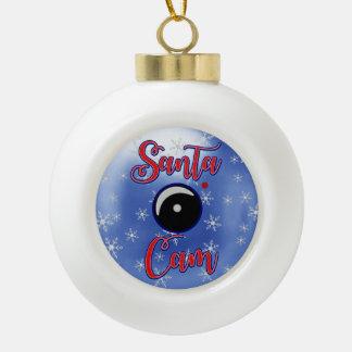 Santa Cam Christmas Ornament/Santa Camera Blue Ceramic Ball Christmas Ornament