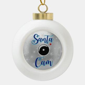 Santa Cam Christmas Ornament/Santa Camera Silver Ceramic Ball Christmas Ornament