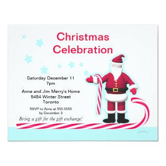 Santa, Candy Cane and Stars Christmas Party 11 Cm X 14 Cm Invitation Card