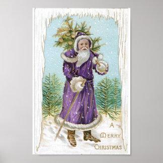 Santa carrying a Christmas Tree Poster