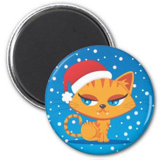 Santa Cat 6 Cm Round Magnet