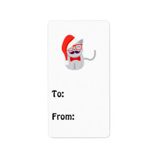 Santa Cat Address Label
