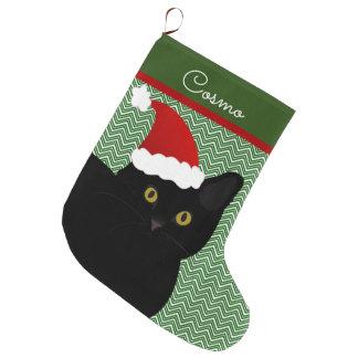 Santa Cat Black With Yellow Eyes Personalized Large Christmas Stocking