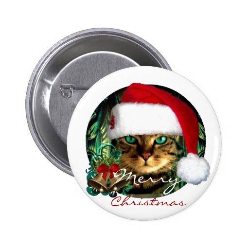 Santa Cat Christmas Button