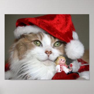 Santa cat - christmas cat - cute kittens poster