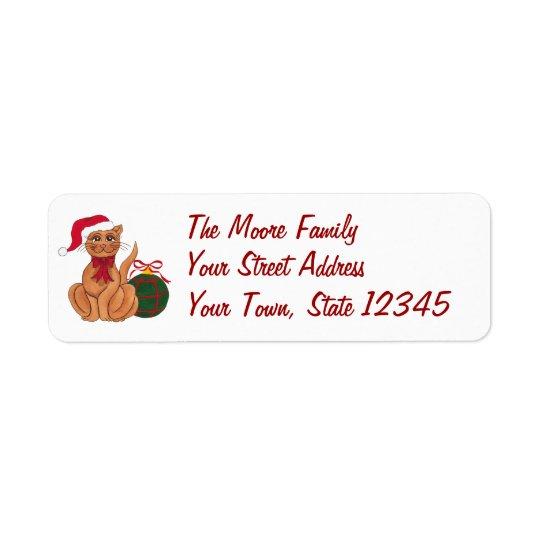 Santa Cat & Christmas Ornaments - Address Label