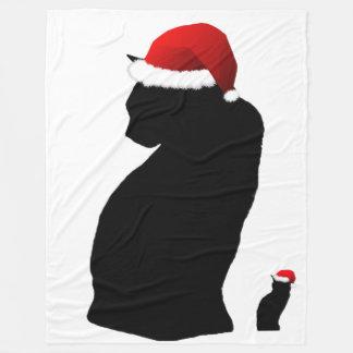 Santa Cat Fleece Blanket