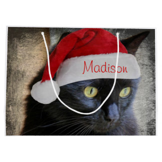 Santa Cat Gift Bag, Customize w/ Name on Cap Large Gift Bag