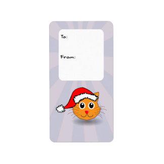 Santa Cat Gift Tag Label Address Label