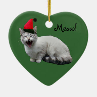 Santa Cat Green Ornament