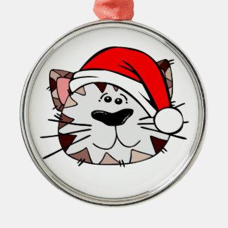 Santa Cat Premium Round Ornament