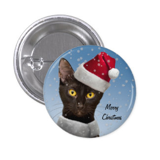 Santa Cat Round or Square Buttons