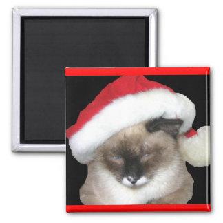 Santa Cat Square Magnet