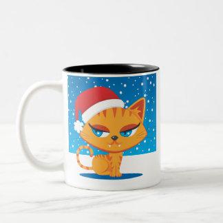 Santa Cat Two-Tone Mug
