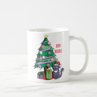 Santa Cat Under a Christmas Tree Coffee Mug