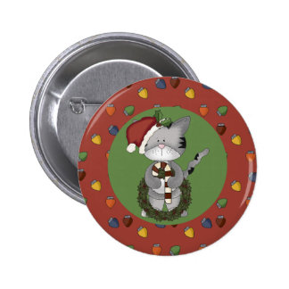 Santa Cat with Candy Cane and Wreath 6 Cm Round Badge