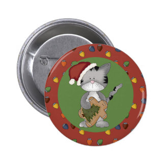 Santa Cat with Gingerbread Man 6 Cm Round Badge